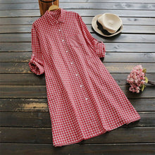 Women Checked Shirt Dress Vintage Short
