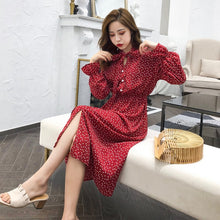 Elegant Stand Collar Polka Dot Chiffon Women Dress