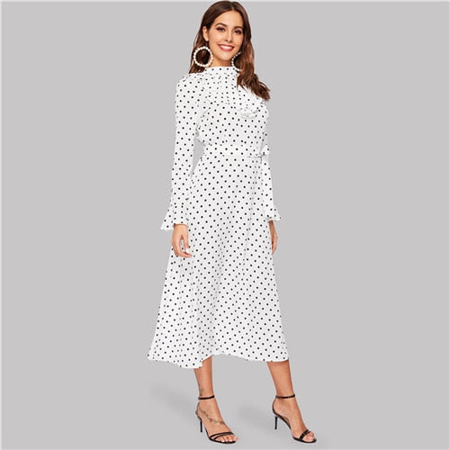 Elegant Ruffle Trim Polka Dot White Dress