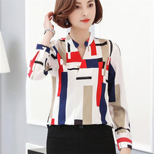 Long Sleeve Striped Print V Neck Women Top Shirt