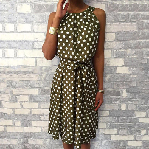 Halter Asymmetrical Ruffles Tank Polka Dot Dress Women Sexy Off Shoulder