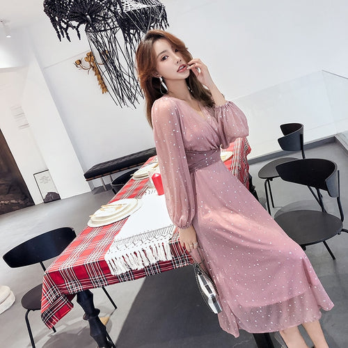 Elegant V-neck Polka Dot Slim Waist Women Dress