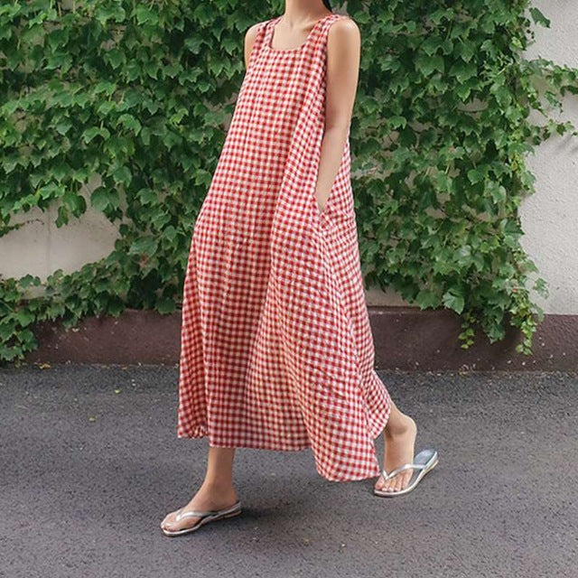 Women Summer Sleeveless Plaid Dress