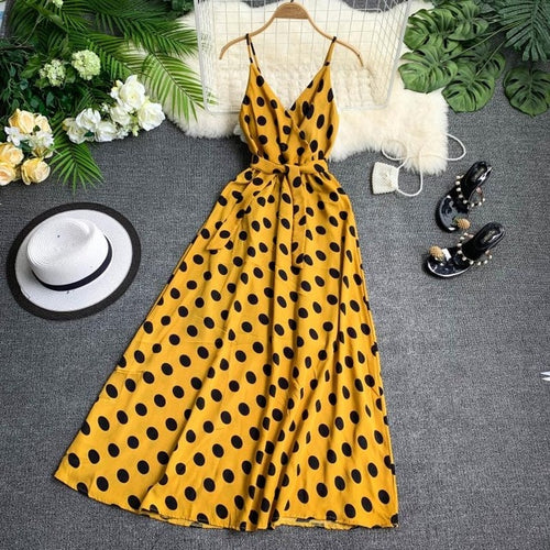 French Elegant Retro Polka Dot Dress V-collar
