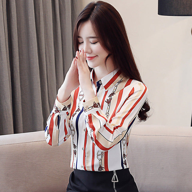 Spring New Fashion Women's Blouse Print Chiffon Long Sleeve Shirt