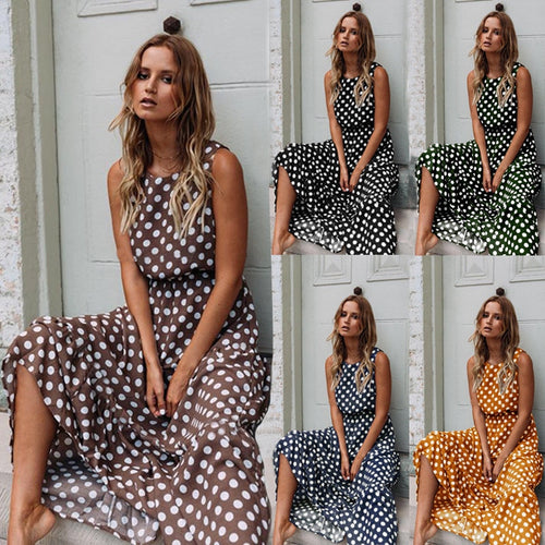 Summer Sleeveless Polka Dot Print Women Midi Dress