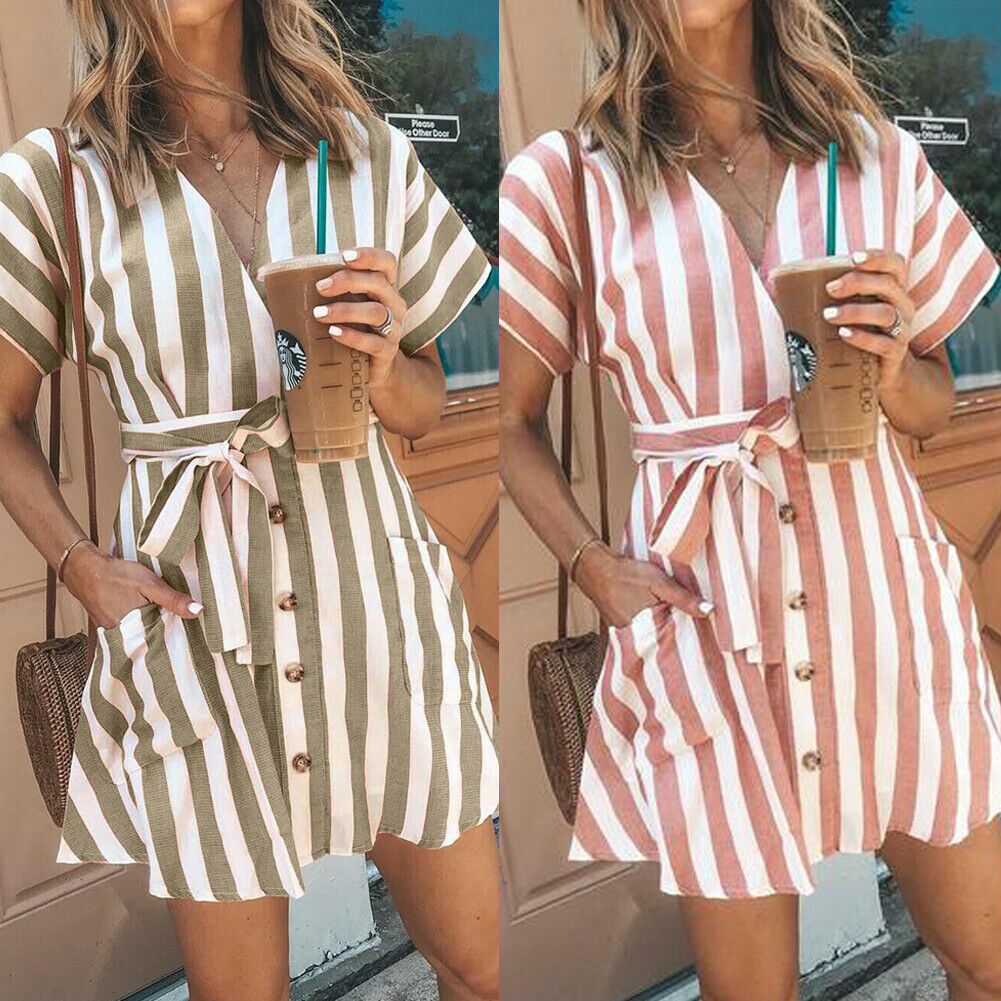 Hot Elegant Women's Ladies Fashion Sexy Stripe