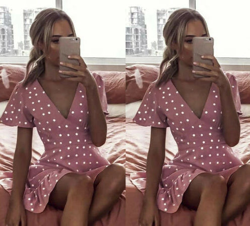 Vintage Women's Pink V-neck Polka Dot Dress