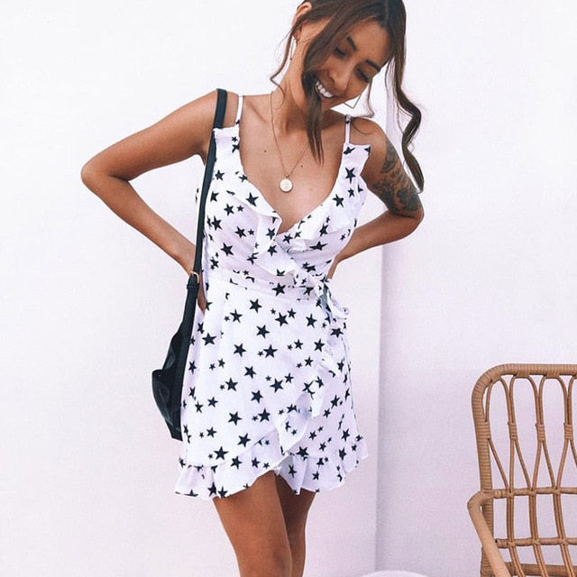 Stars & Dot Print Sexy Bodycon Cami Dress