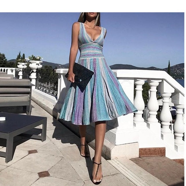 Women Summer Sexy Deep V Neck Striped Midi Dress Sleeveless