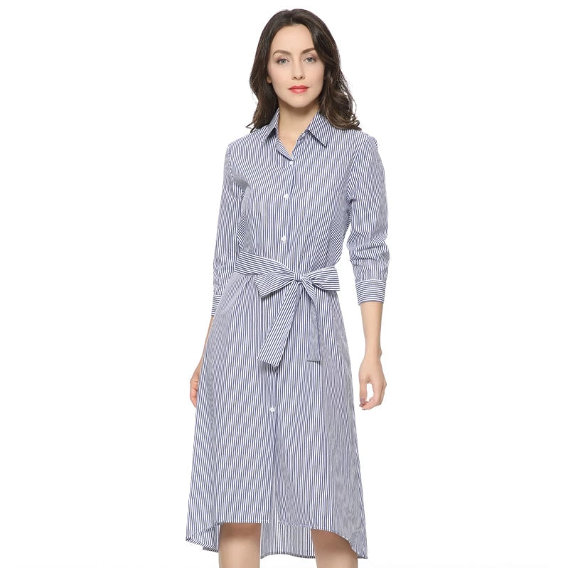 Women elegant striped long shirt dress