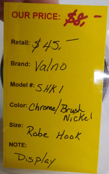 Valno 5HK1 Robe Hook Chrome/Brush Nickel