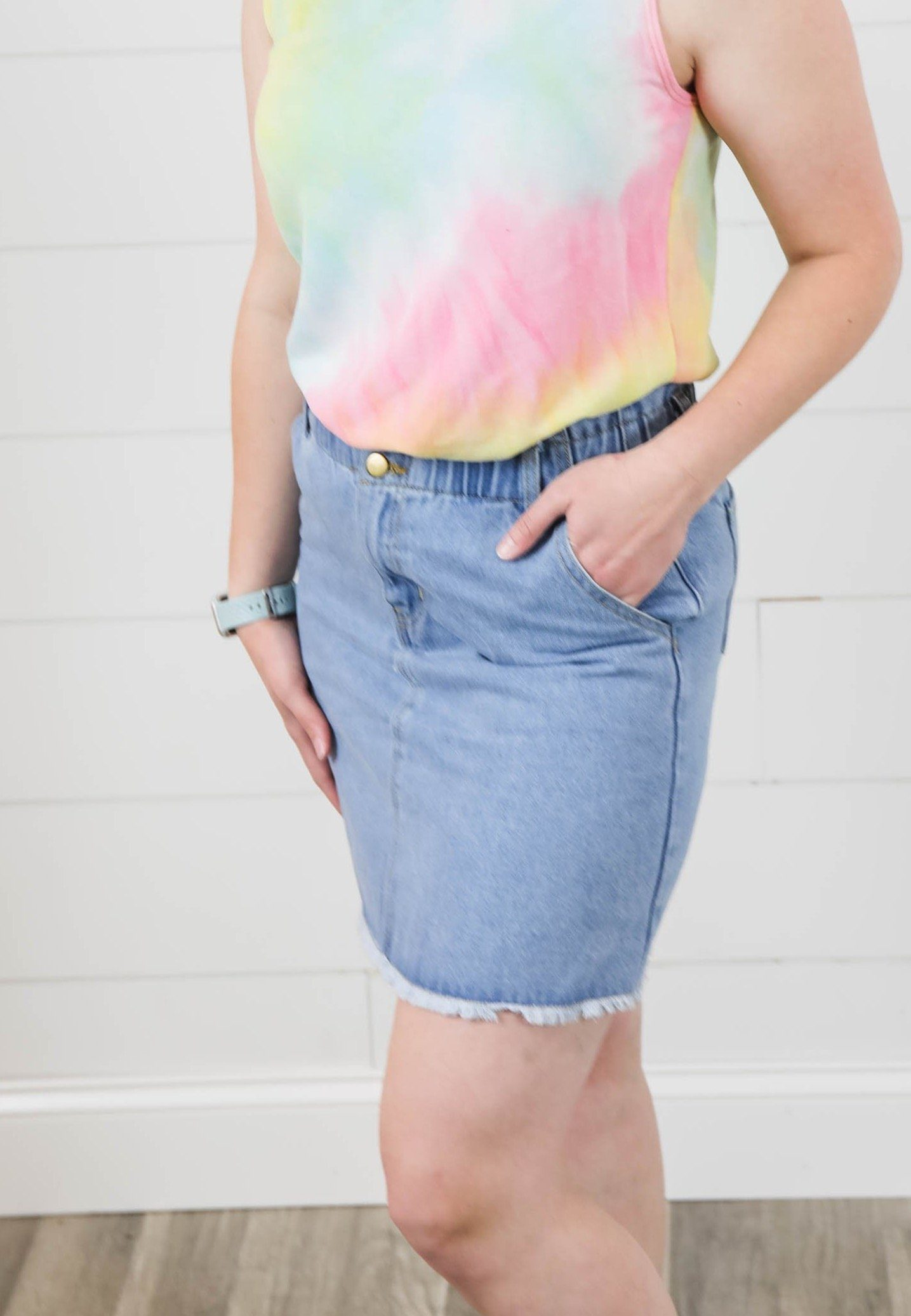 The Emma Light Denim Elastic Skirt with Frayed Hem Bottoms Hayden Los Angeles