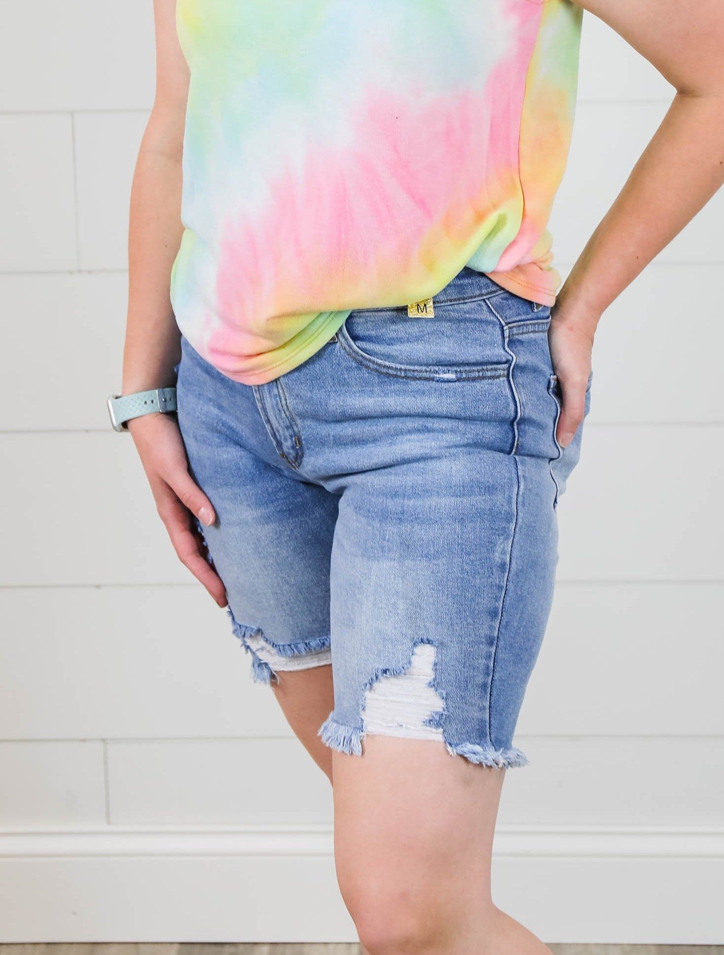 The Maggie Distressed Mid Thigh Shorts Shorts Vibrant