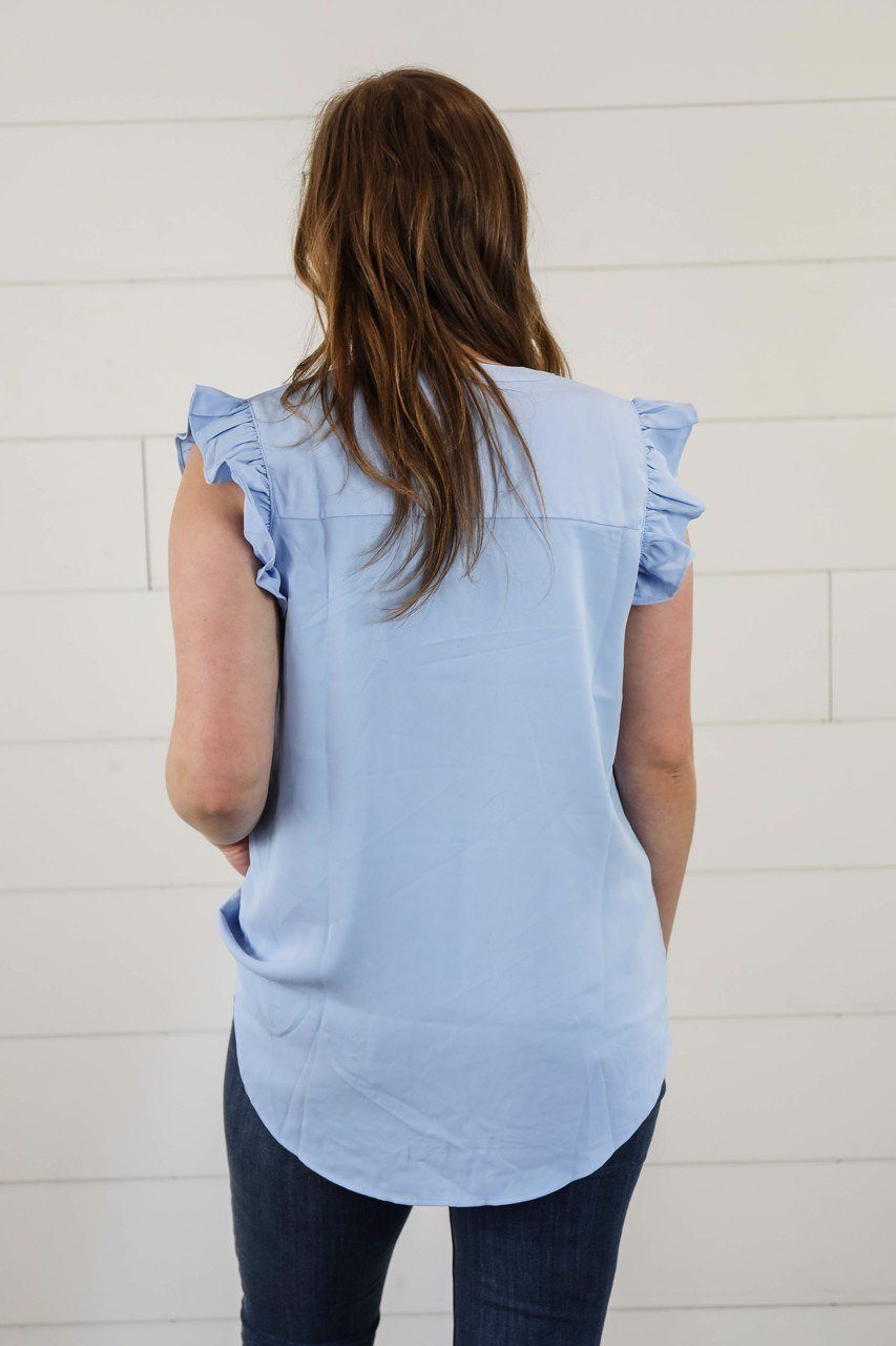 The Lucy Ruffle Sleeve Top in Spring Blue Short sleeve Zenana