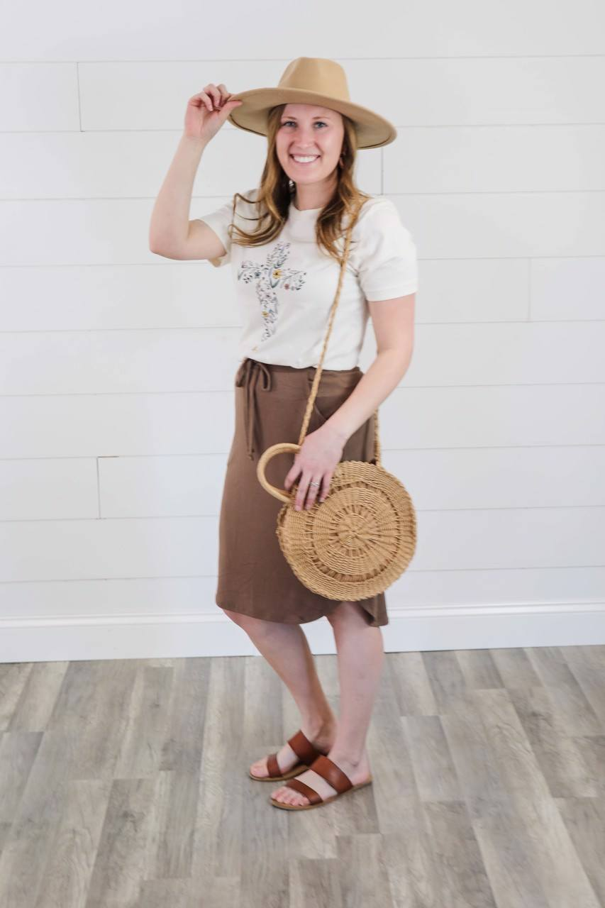The Jane Weekender Skirt in Mocha Bottoms Zenana