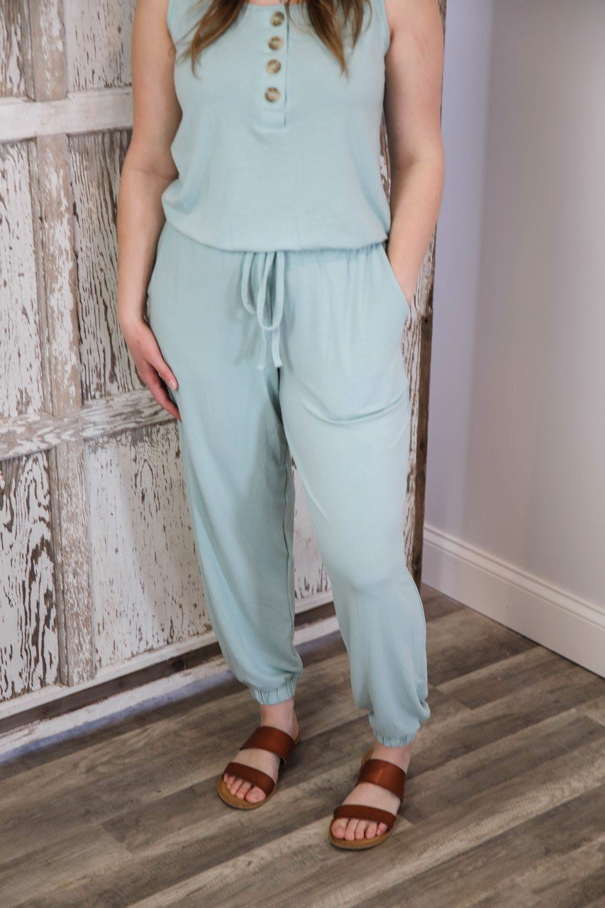 The Rowen Jumpsuit Joggers in Light Green up to Plus Jumpsuit & Rompers Zenana