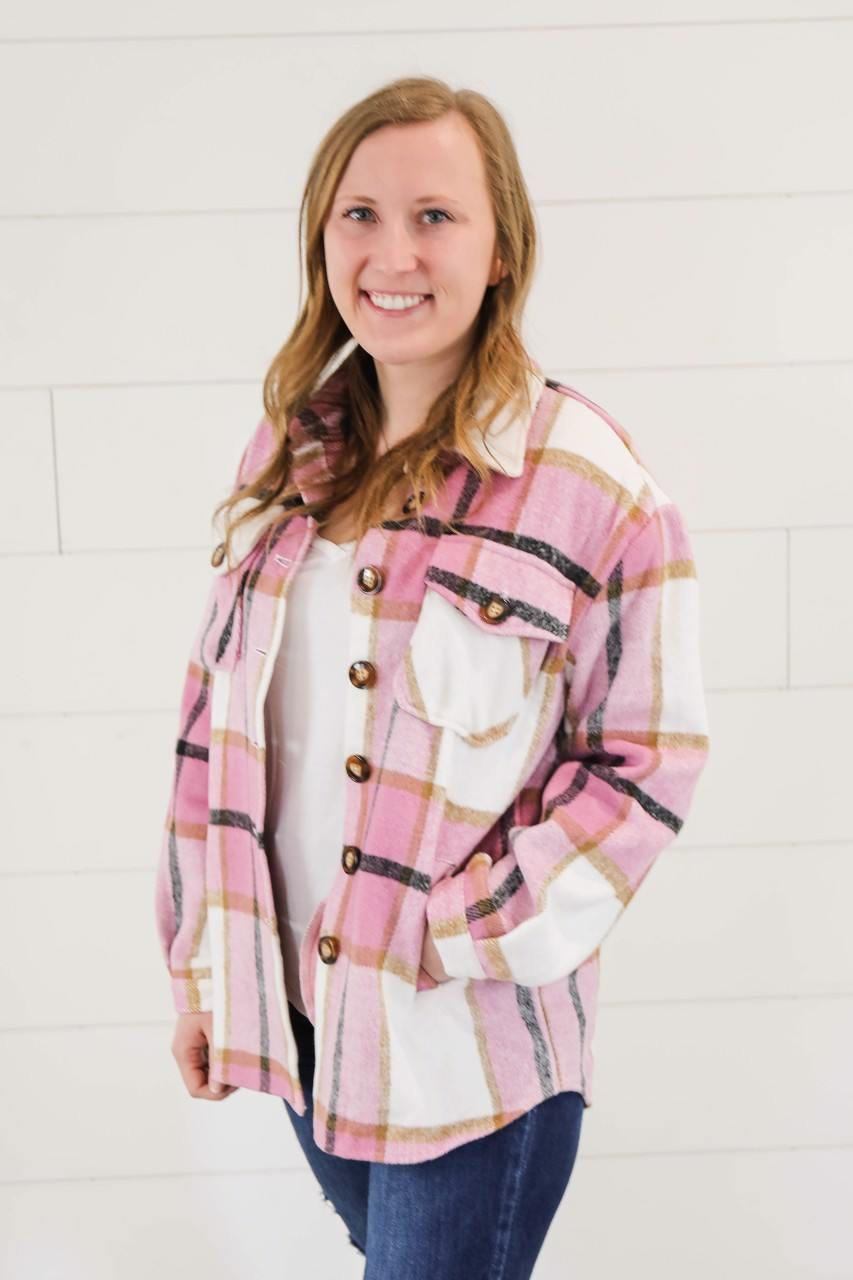 The Drake Pink Plaid Shacket up to Plus Outerwear LA Fashion Concepts
