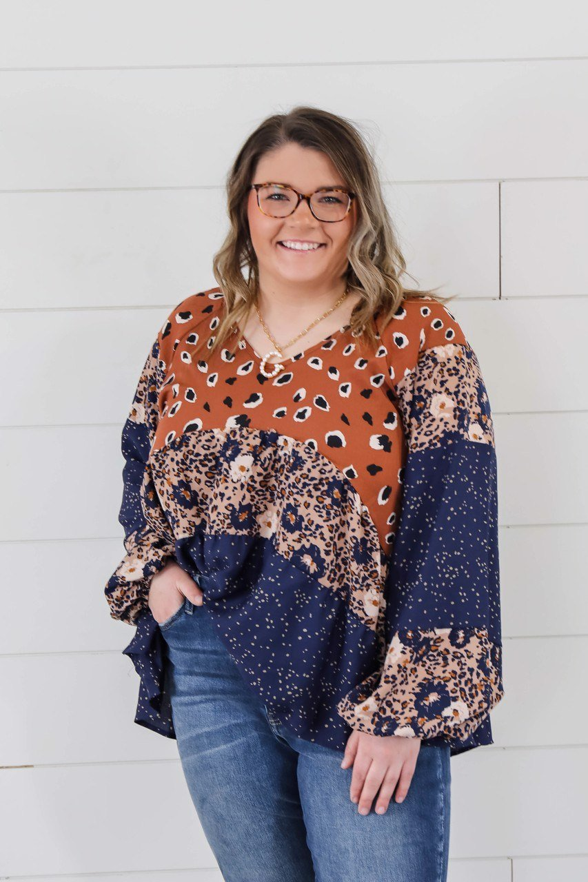 The Kelsey Leopard and Floral Blocked Balloon Sleeve Top Long sleeve Hailey & CO