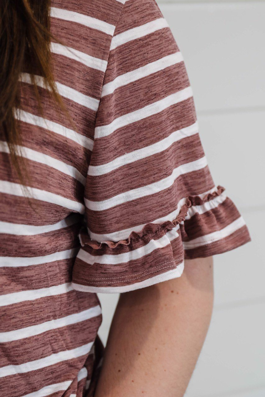 The Hayden Plus Stripe V-Neck Ruffle Tee in Mauve Short sleeve Hayden Los Angeles