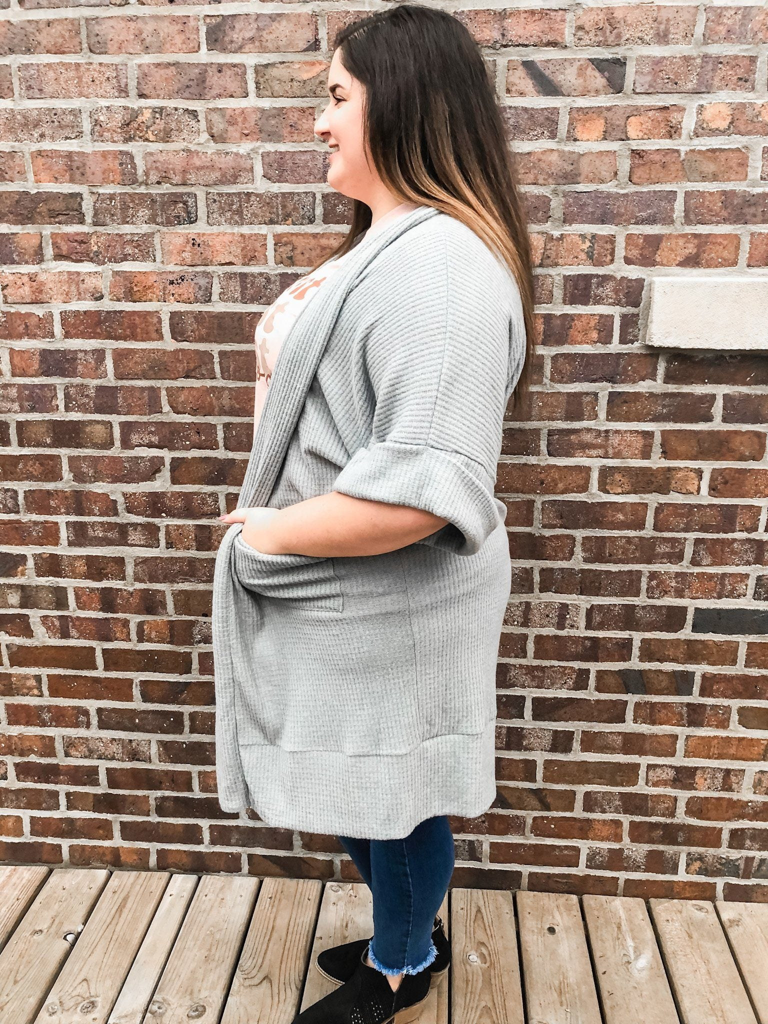 The Kinsley Heather Grey Ribbed Cardigan Cardigan Eldridge