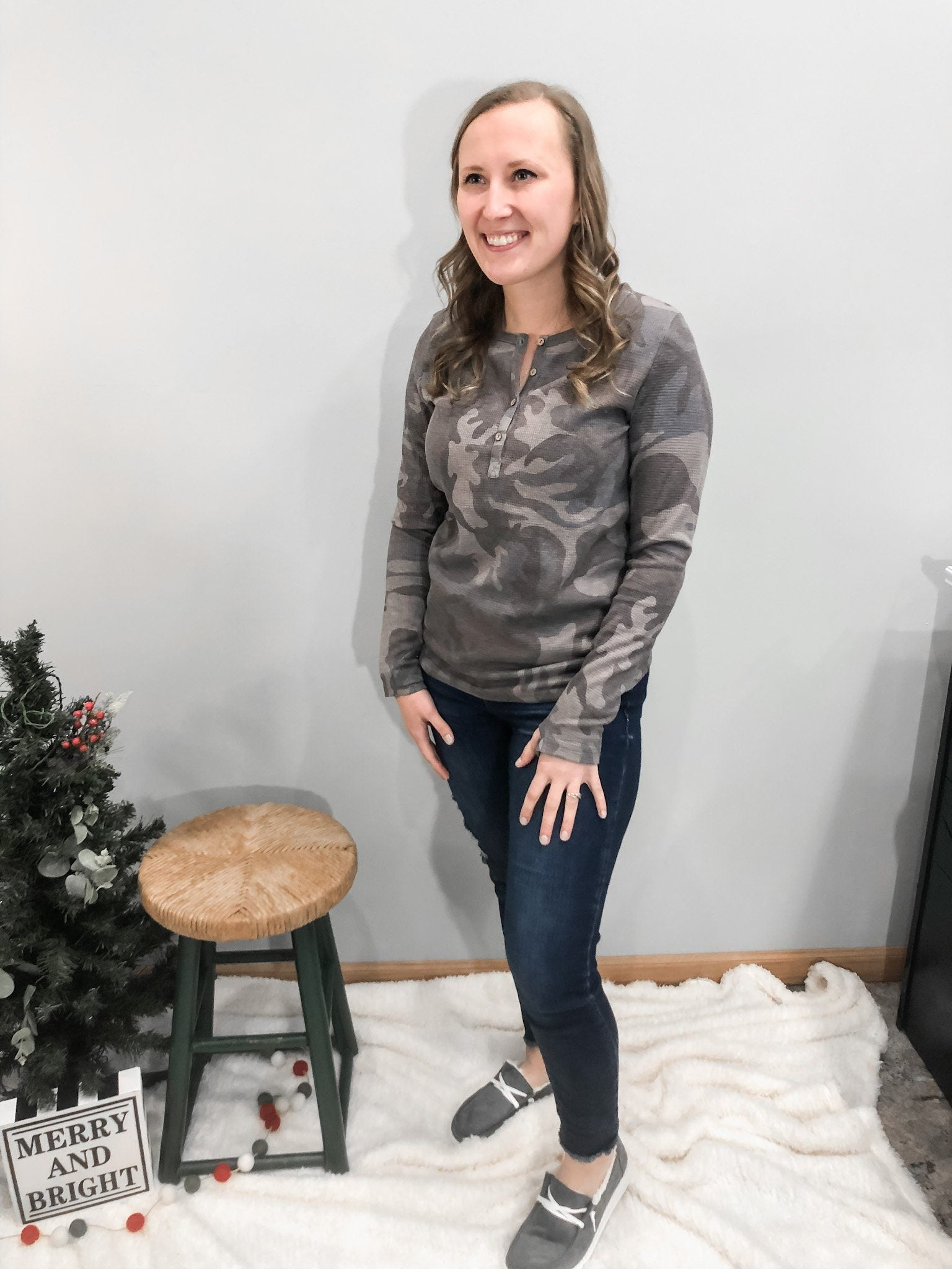 The Michelle Camo Henley Button Long Sleeve in Grey Long sleeve Michelle Mae