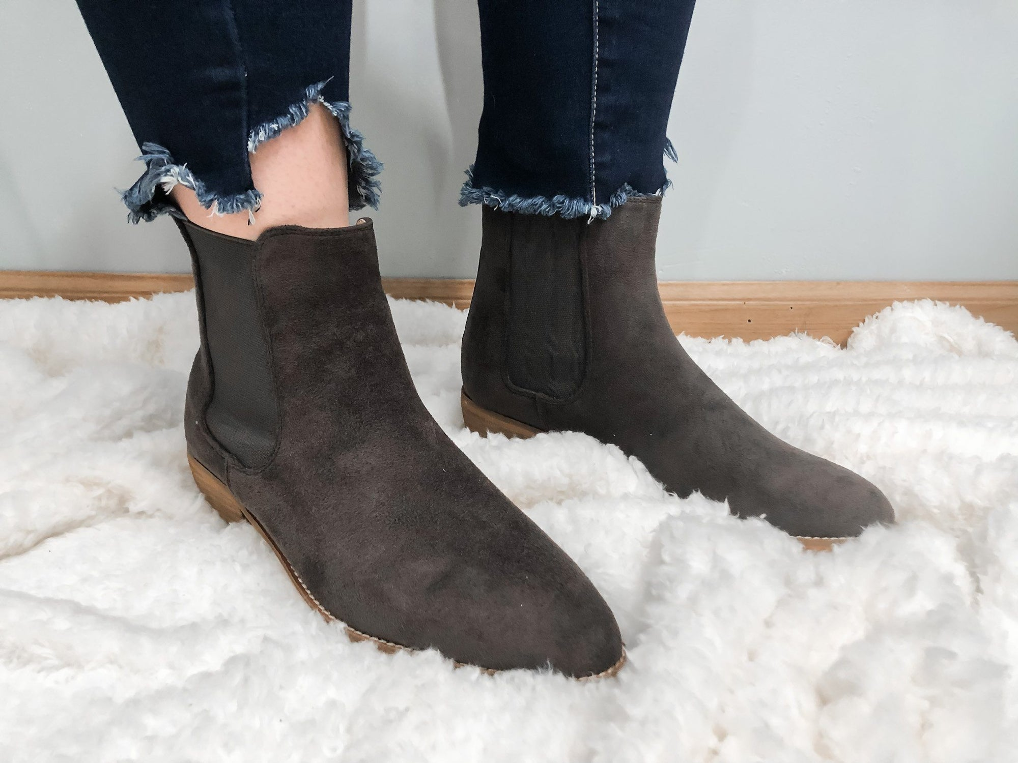 The Chase Charcoal Grey Suede Bootie Shoes Mars Sky Shoes