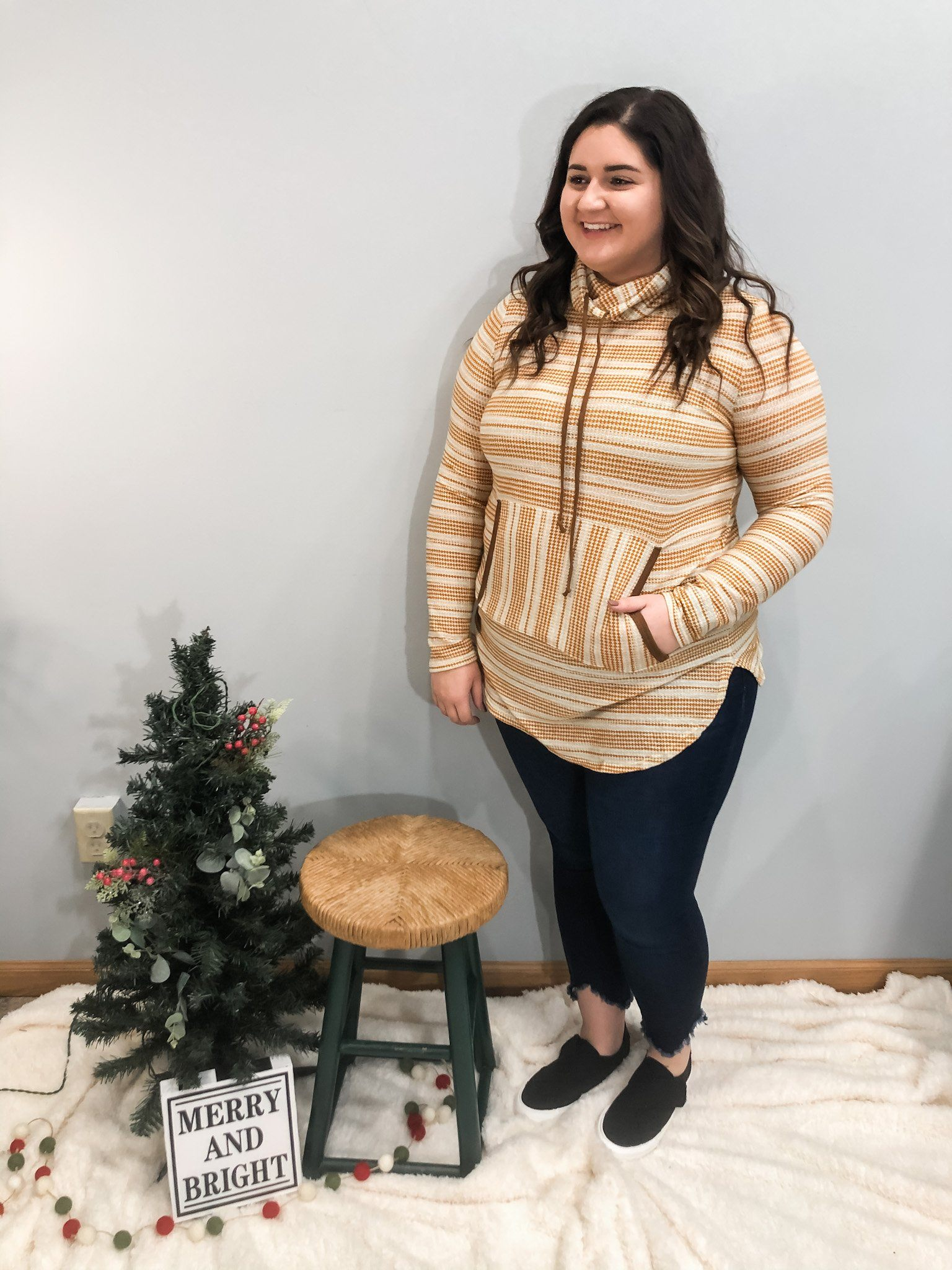 The Aiden Mustard Stripe Hoodie in Plus Long sleeve Hailey & CO
