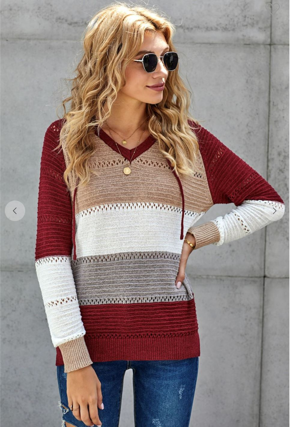 The Austyn Burgundy Crochet Stripe Colorblock Hoodie Long sleeve Magnolia Grove