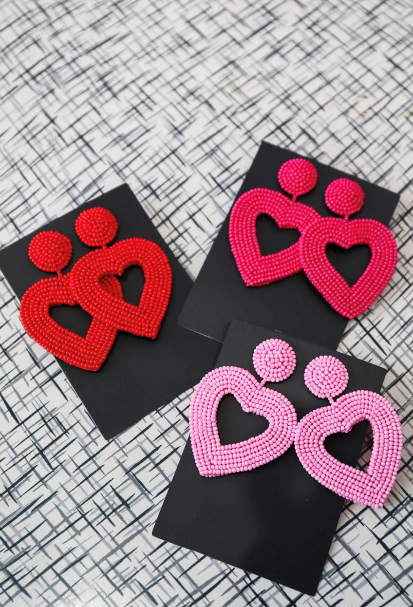 Be My Valentine Beaded Heart Earrings Jewelry Jess Lea