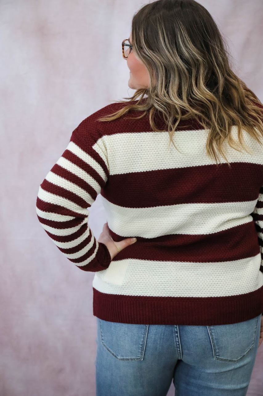 The Carlie Striped Sweater in Burgundy Long sleeve Zenana