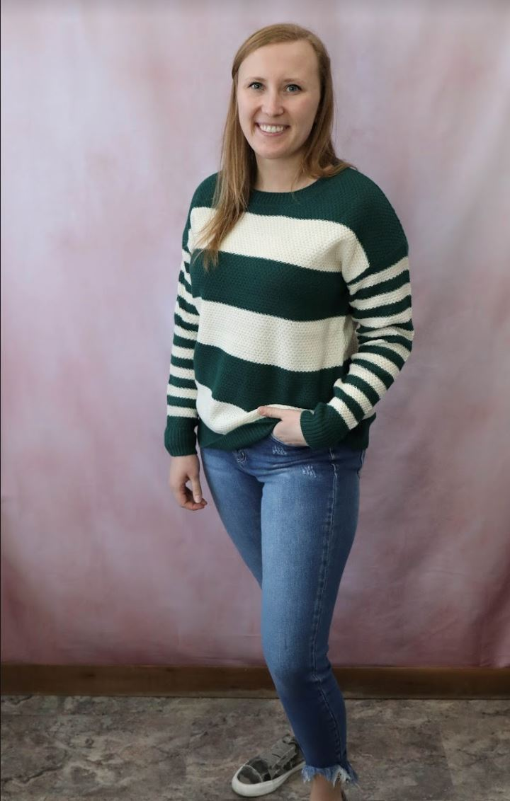 The Carlie Striped Sweater in Hunter Green Long sleeve Zenana