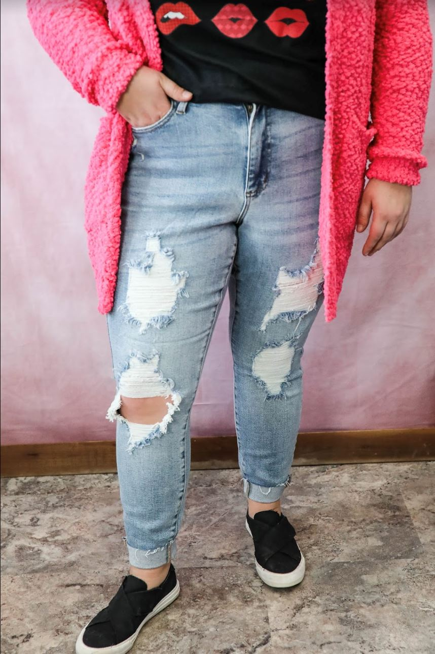 The Shelby Judy Blue Curvy Girl Distressed Skinny Jeans Skinny Jean Judy Blue