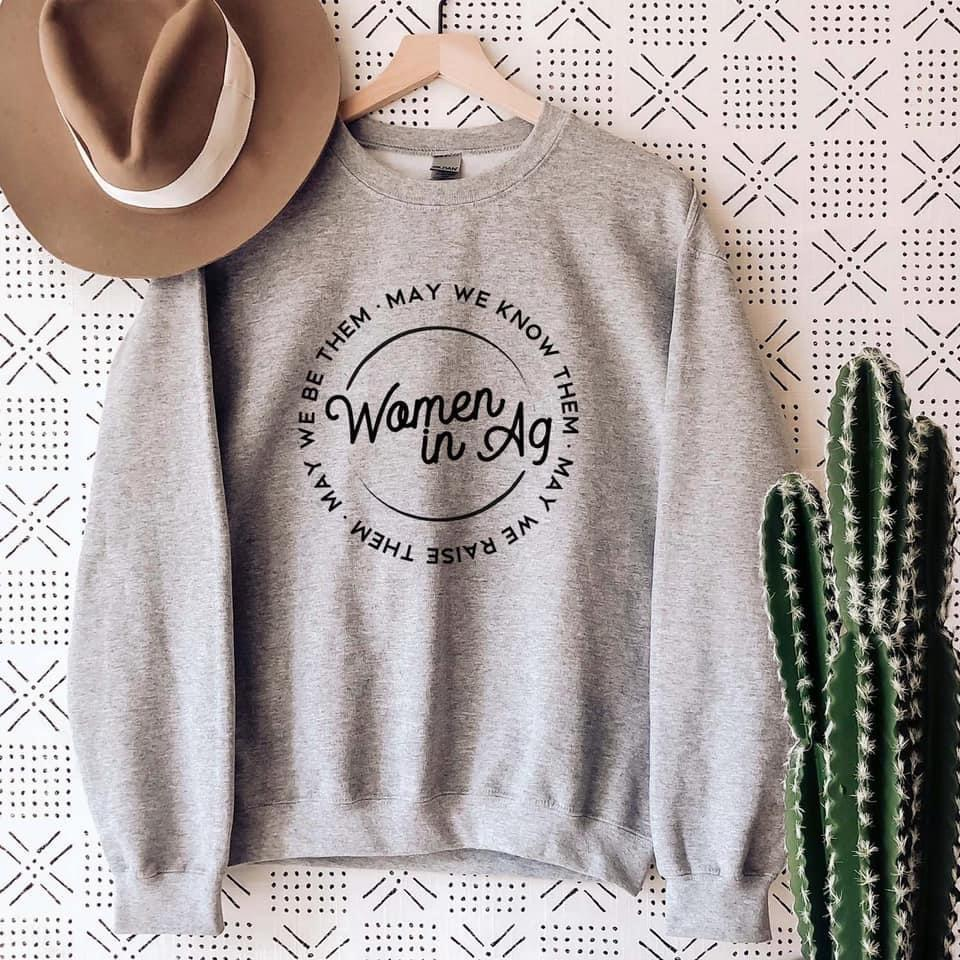 Women in Ag Grey Crewneck Sweatshirt Long sleeve Wandering Maverick