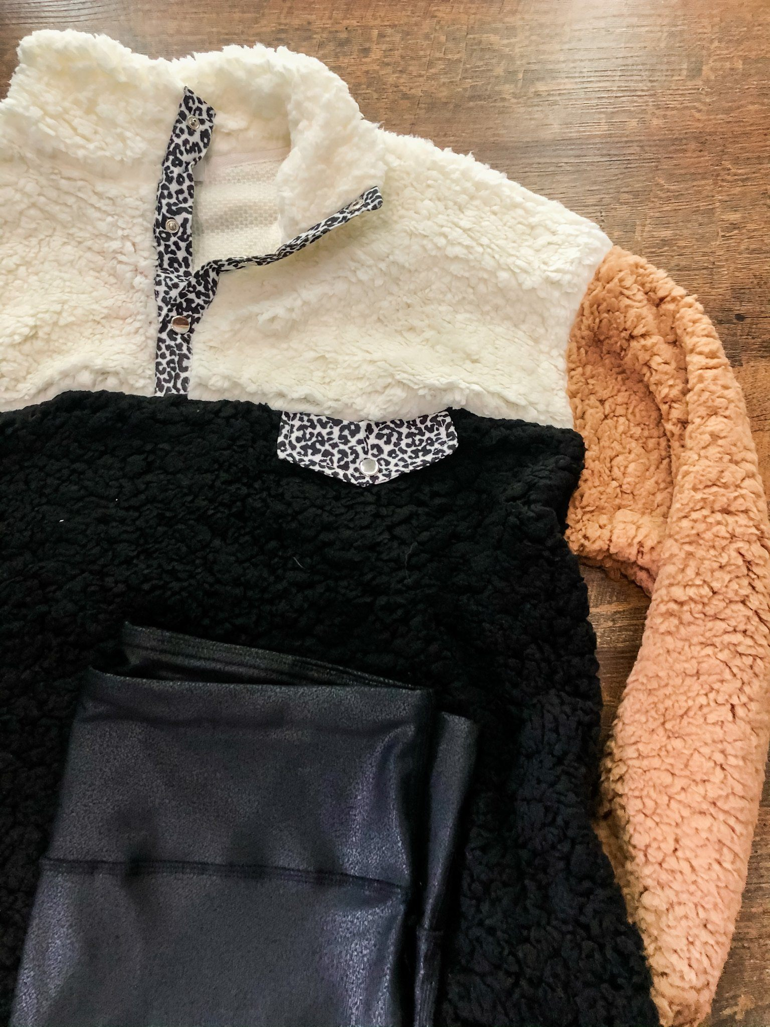 The Graham Colorblock Cheetah Sherpa Long sleeve Jess Lea