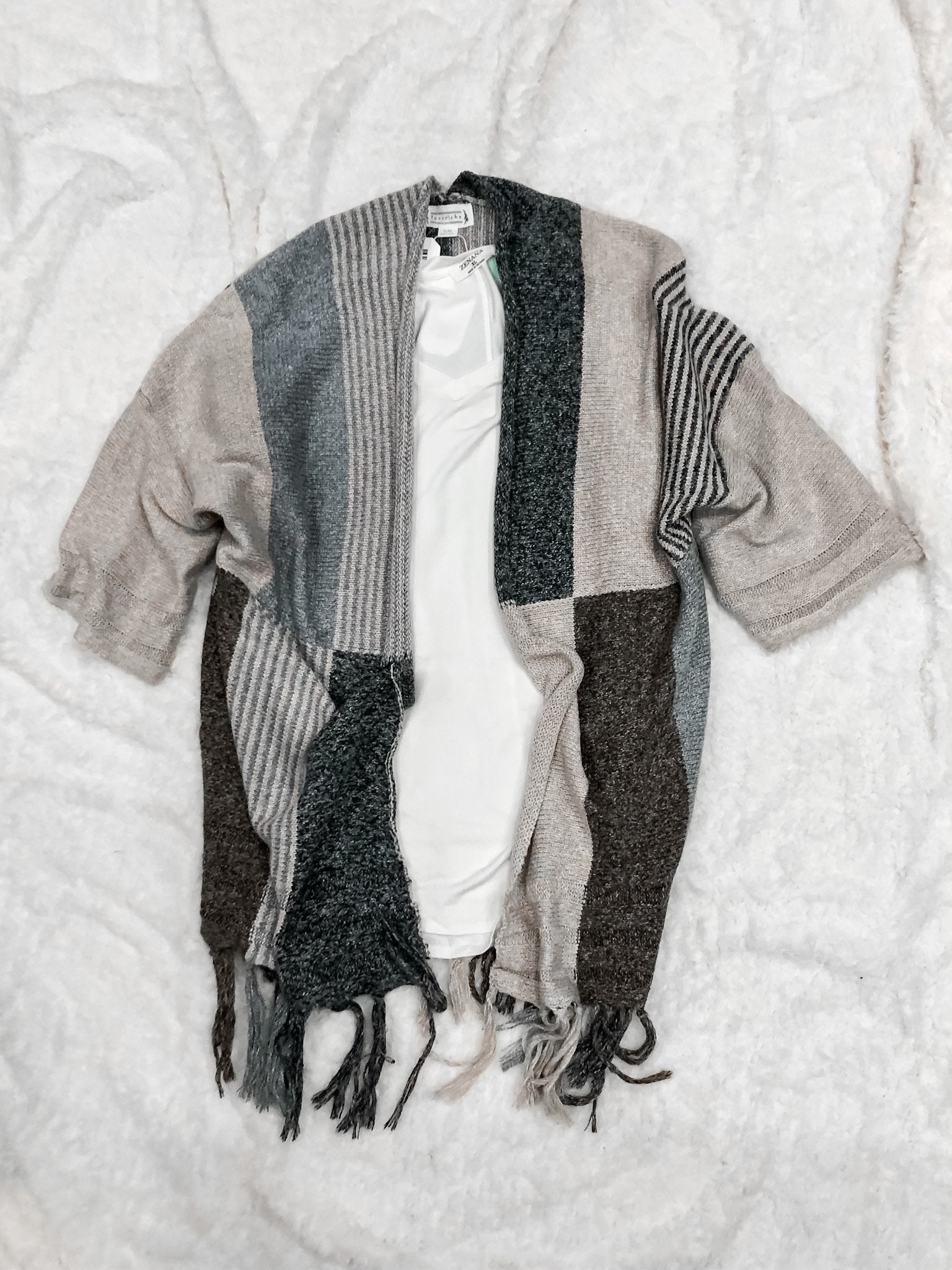 The Talia Color Block Fringe Cardigan Cardigan Very J