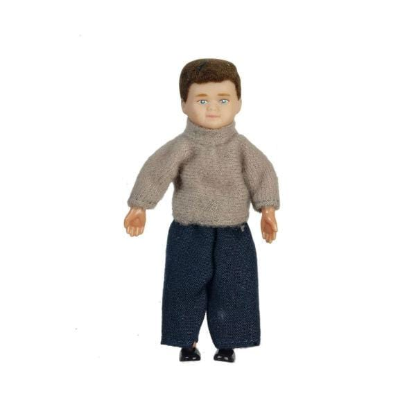 A brunette dollhouse doll who is a young boy wearing a grey sweater and jeans.