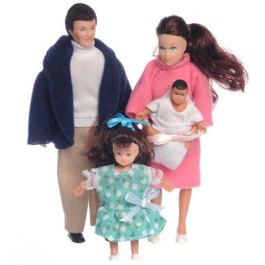 Attractive dollhouse doll family of four in bright, stylish clothes.