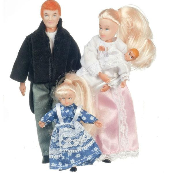 A Victorian era dollhouse doll family of four wearing traditional clothes from the time period.