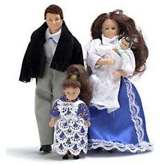 A dollhouse doll family in traditional Victorian clothing.