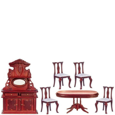 A dollhouse furniture dining set with a Victorian sideboard, oval table, and four chairs.