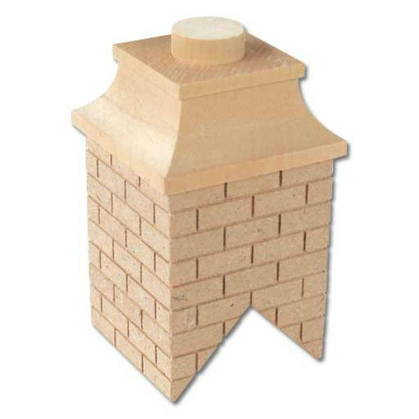 A dollhouse miniature brick chimney.