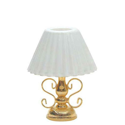A 12 volt dollhouse miniature brass lamp.