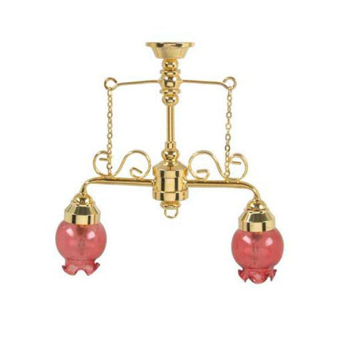 A 12 volt dollhouse miniature chandelier with two pink shades.
