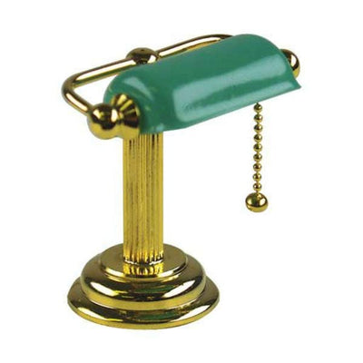A 12 volt dollhouse miniature banker's desk lamp.