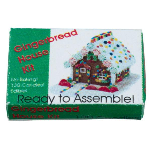 A dollhouse miniature gingerbread house kit box.
