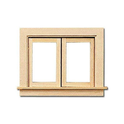A dollhouse miniature casement window.