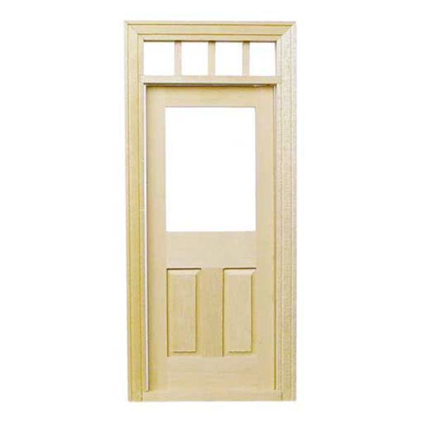 A dollhouse miniature exterior door.