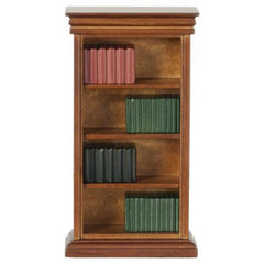 A dollhouse furniture bookcase filled with books.