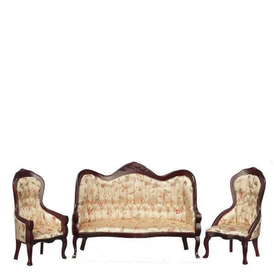 A dollhouse furniture living room set of two floral fabric chairs and one floral fabric sofa.